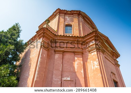 The rigid and severe architecture of the Shrine of Our Lady of Health of Solarolo in Italy, church from the 18th century devoted to the Blessed Virgin Mary - stock photo