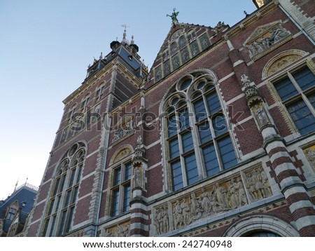 The Rijksmuseum or state museum is a Netherlands national museum in Amsterdam - stock photo