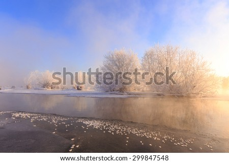 The rime of near the river - stock photo