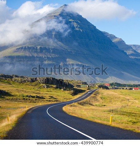 The Ring Road in Iceland. Route 1 or the Ring Road is a national road in Iceland that runs around the island and connects most of the inhabited parts of the country. The length of the road is 1332 km.