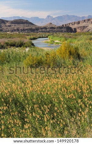 The Rio Grande as viewed from Big Bend National Park, Texas - stock photo