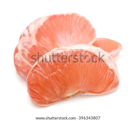 the ripe grapefruit peeled on white