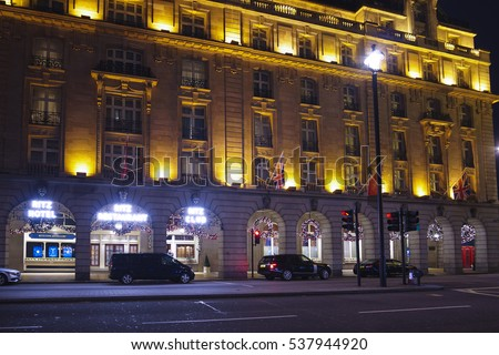 The Ritz Hotel London at Christmas Time - LONDON / ENGLAND - DECEMBER 10, 2016