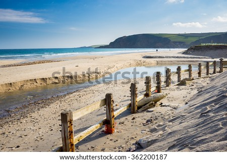 The river and beach at Pentewan Sands  Cornwall England UK