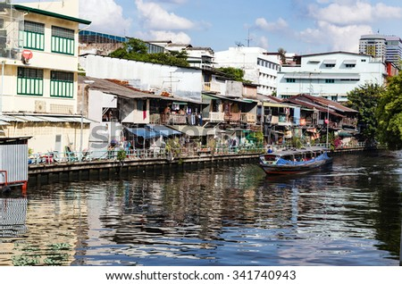 the river canals of Bangkok are used by residents to travel by boats through the city