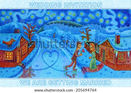 The river has frozen and a groom arrived for a bride on skates - cartoon illustration with a crayon - wedding invitation. - stock photo