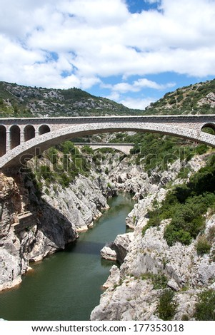 The river Herault in the South of France - stock photo