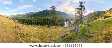 The river Irkut. East Sayan mountains - stock photo
