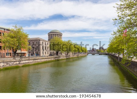 The river Liffey at Four Courts between Inns Quay and Merchants Quay - stock photo