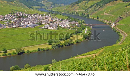 the River Mosel near Trittenheim,Rhineland-Palatinate,Germany - stock photo