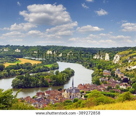 The River Seine and Les Andelys - Panorama from the Chateau Gaillard, Normandy, France - stock photo