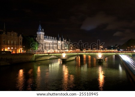 The River Seine, at night, Paris