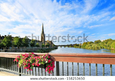 The River Tay on a summer day,  Perth Scotland - stock photo
