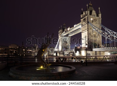 The River Thames and Tower bridge at Night.