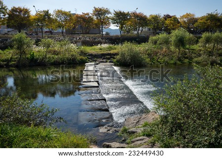 The river that ran next to the Jeonju Hanok Village. The architecture of the village houses is based on the traditional Korean 'hanok' houses - stock photo