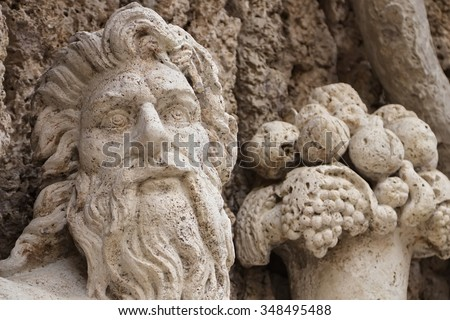 The River Tiber fountain by  Domenico Fontana at four fountains square, Rome, Italy - stock photo