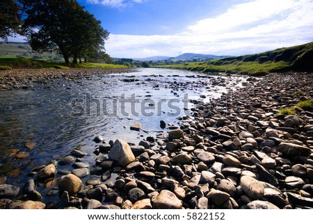The River Ure near Hawes, Yorkshire Dales National Park, United Kingdom on a summer's day - stock photo