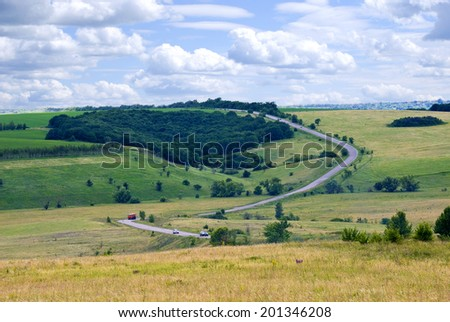 The road across the ravine in the Voronezh region, Russia - stock photo