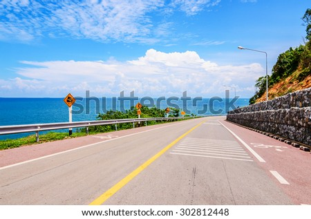 The road along beautiful beaches in the eastern sea coast ,The east side of the Gulf of Thailand. - stock photo