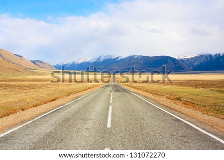 The road and the mountains, the road markings
