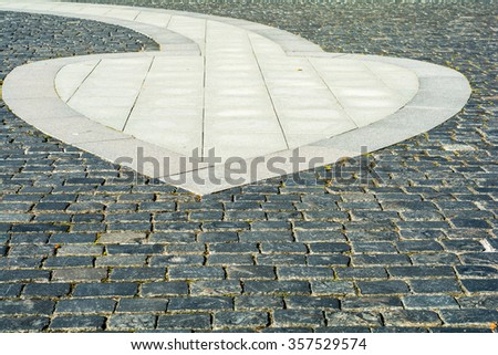 The road gently laid flat stones. Background.