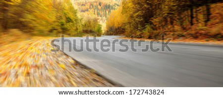 The road in the autumn forest. Panorama with special motion blur effect  - stock photo