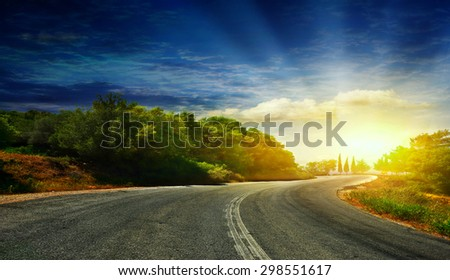 The road in the mountains to the sea