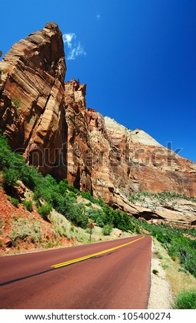 The Road In Zion National Park - stock photo