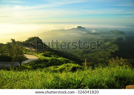 The Road on Green Mountain Landscape in Thailand - stock photo