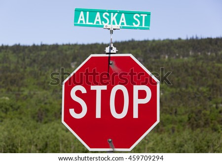The road sign with a name of a street in Skagway town (Alaska).