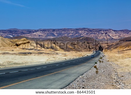 The road through the stained eilat mountain - Israel