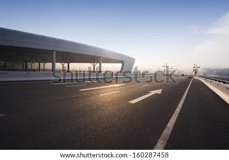 the road to airport - stock photo