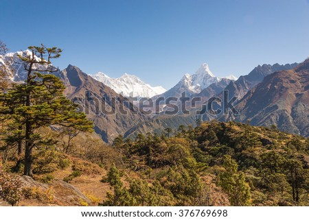 The road to Everest Base Camp, Himalayan Mountains, Nepal - stock photo