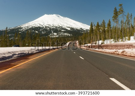 The road to Mt Bachelor literally - stock photo