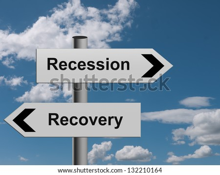 The road to recovery - or recession, concept - stock photo
