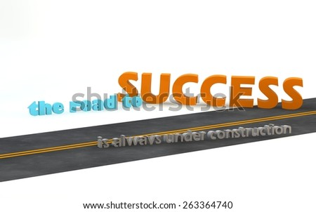 The road to success isalways under construction. 3D motivational poster.3D text with long shadow