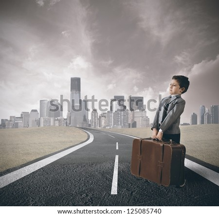 The road to success of a young businessman - stock photo