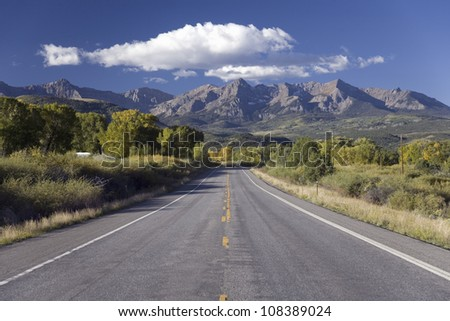 The road to Telluride Colorado from Ridgeway, Southwestern Colorado - stock photo