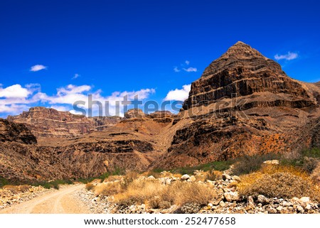 The road to the bottom of the Grand Canyon - stock photo