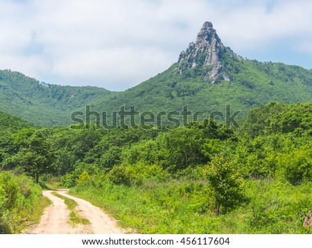 The road to the mountain. Amazing mountain landscape