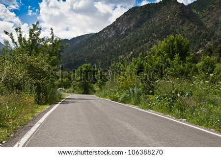 The road to the mountains on the nature