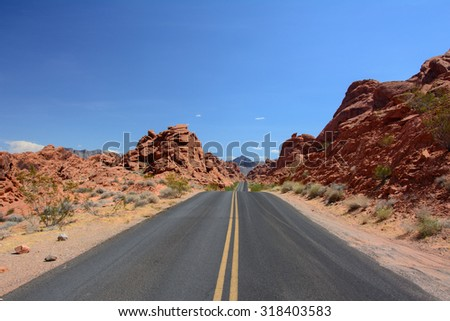 The road to the park Valley of fire, Nevada