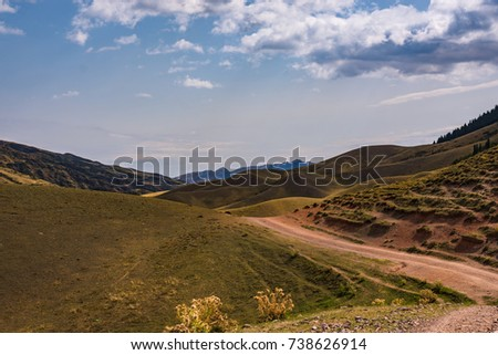The road to the plateau of Assi. Mountains of the Trans-Ili Alatau. Kazakhstan.