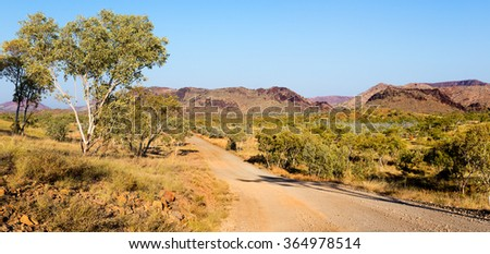 The road to  Tunnel Creek National Park and Windjana Gorge National Park from Fitzroy Crossing  part of the King Leopold Ranges in Western Australia