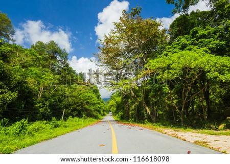 The road winding along mountain - stock photo