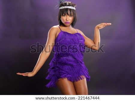 The roaring 20's African American in purple - stock photo