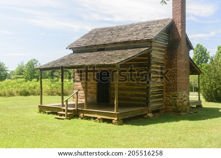 The Robert Scruggs cabin in Cowpens, South Carolina.  He and his wife reared 11 children in their humble home. - stock photo