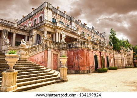 The Robillon wing of Queluz National Palace, in the municipality of Sintra, Lisbon district, Portugal - stock photo