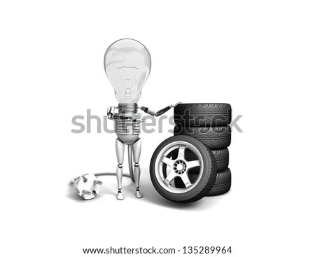"""The robot """"bulb"""" leans on new wheels and show """"ok""""  isolated on a white background - stock photo"""