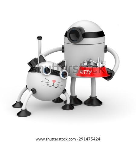 The robot feeds her cat robot - stock photo
